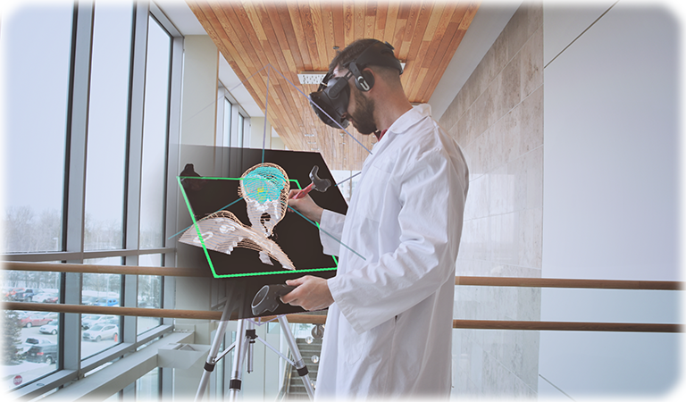 A doctor drawing on a medical image and making a 3D model in virtual reality VR
